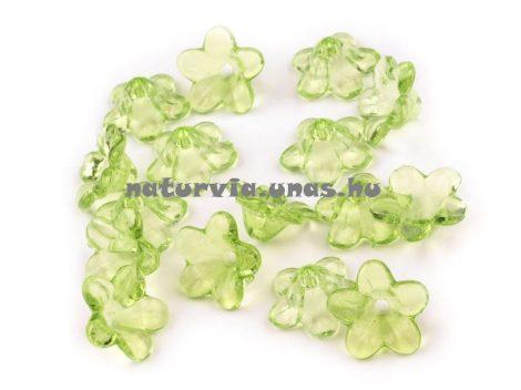 Harang alakú virág, akril harangvirág gyöngy (12 mm), VILÁGOS ZÖLD (10 db/csomag)