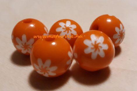 virág mintás gyöngy csomag (d=14 mm), NARANCS / NARANCSSÁRGA színű (5 db/csomag)