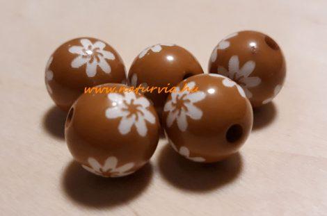 virág mintás gyöngy csomag (d=14 mm), MOGYORÓBARNA / BARNA színű (5 db/csomag)