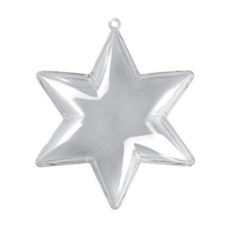 műanyag (akril) forma, 2 részes, átlátszó / áttetsző CSILLAG (10 cm)