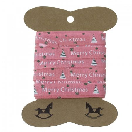 Szalag tekercs (5m) karácsonyi fenyőfás, hópelyhes (pamut) rózsaszín alapon (10 mm)