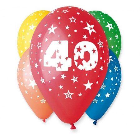 """Számos léggömb, lufi """"40"""" felirattal (5 db / csomag) 30 cm, vegyes szinekben"""