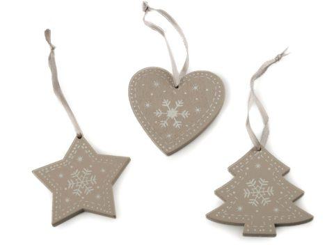 fa dísz szett (szív, csillag, fenyőfa) 3 db-os (6 cm) SZÜRKÉS-BARNÁS ALAPON VILÁGOS SZÜRKE karácsonyi