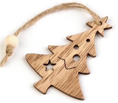 karácsonyi dekoráció, FENYŐFA / KARÁCSONYFA (7,5 cm), természetes barna színben, fából