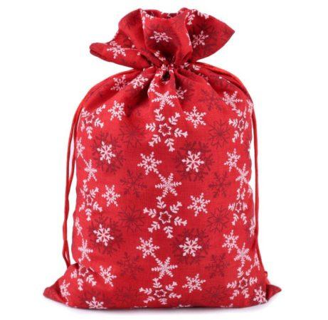 Mikulás zsák, zacskó karácsonyi csomagoláshoz, HÓPEHELY mintával (20 * 30 cm), PIROS