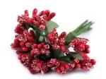 Művirág, műnövény BOGYÓK csokorban (9 cm), PIROS színű