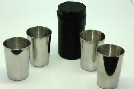 pohárkészlet, fém poharak, műbőr tokban (4 db/cs) 80 ml