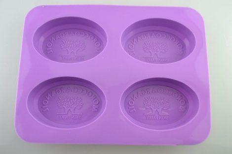 """Szilikon forma, süteményforma - """"MOROCCO ARGANOIL"""" feliratos FA mintás (4 db-os) ovális"""