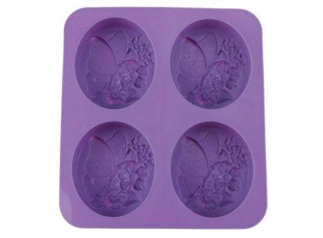 Szilikon forma, süteményforma - LEPKE / PILLANGÓ VIRÁGGAL (4 db-os)