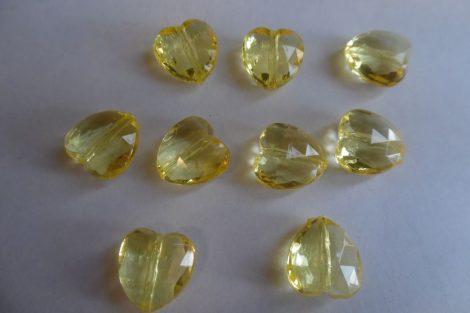 Akril közepes SZÍV alakú gyöngy, 1,5 cm CITROMSÁRGA