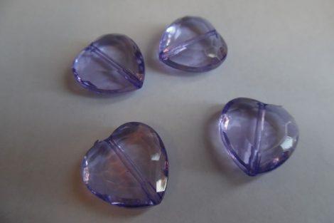Akril óriás SZÍV alakú gyöngy, 2 cm LILA