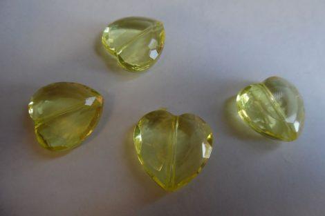 Akril óriás SZÍV alakú gyöngy, 2 cm CITROMSÁRGA