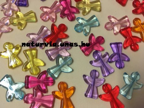 Angyal / angyalka alakú fűzhető, akril (műanyag) gyöngy (20 mm), vegyes szinekben (10 db/csomag)