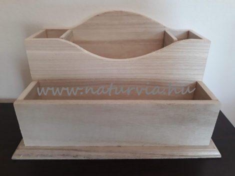 Fa íróasztali rendező, asztali írószer tartó, TÉGLALAP alapú (23*13 cm), natúr