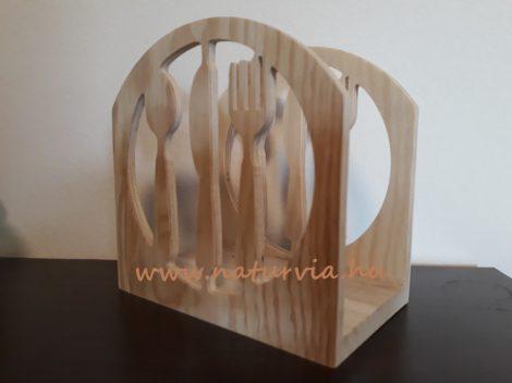 fa szalvétatartó / szalvéta tartó EVŐESZKÖZ mintával (15*15*9 cm)