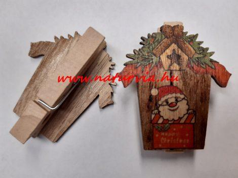 Fa csipesz, dekor csipesz MIKULÁS / TÉLAPÓ (5 cm), házikóval