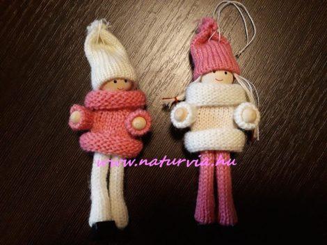 Kötött ruhás fiú és lány baba pár, RÓZSASZÍN és FEHÉR (12 cm)