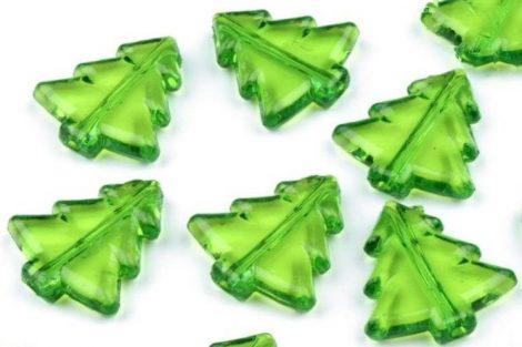 műanyag (akril) dísz, fűzhető dekoráció, FENYŐ / FENYŐFA alakú (ZÖLD) 2db / szett (40 mm)