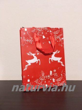 Papír dísztasak, papírtáska, papír tasak (M méret - 24*18 cm), KARÁCSONYI mintával (piros, rénszarvas)