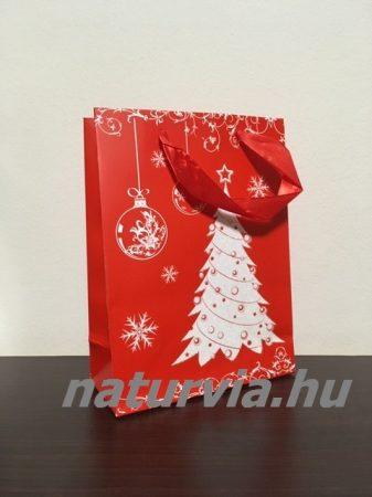 Papír dísztasak, papírtáska, papír tasak (M méret - 24*18 cm), KARÁCSONYI mintával (piros, karácsonyfa)