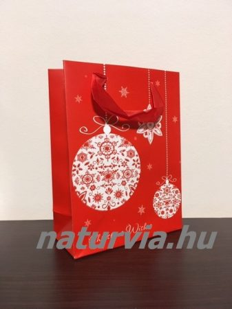 Papír dísztasak, papírtáska, papír tasak (M méret - 24*18 cm), KARÁCSONYI mintával (piros, gömb)