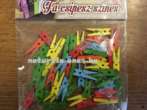 Fa csipesz, színes 2,5 cm (50 db / csomag)