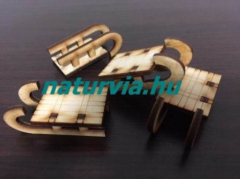Fa szán, szánkó 3D (2,6*3,5 cm) 4 db/csomag NATÚR (lézervágott)