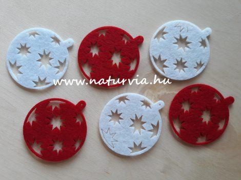 filc figurák, KARÁCSONY, GÖMB 03. piros és fehér, csillagokkal (6db/cs)