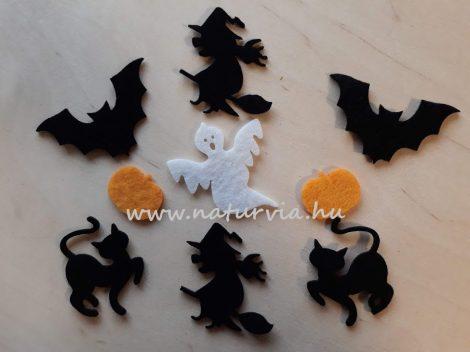 Filc figurák - HALLOWEEN csomag (9 db / csomag) - boszi, denevér, szellem, tök, cica