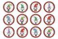 Filc, barkácsfilc anyag A4 (~ 20*30 cm) KARÁCSONYI mintás - CUKI MANÓK piros körökben