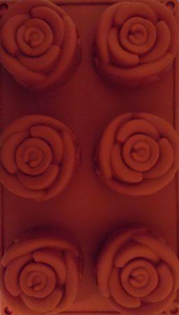 Szilikon forma, süteményforma - RÓZSA (6 db-os)