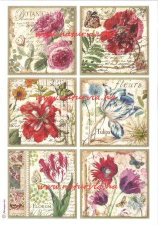 decoupage (dekupázs) rizspapír, VIRÁGOK (tulipán, rózsa) - LEPKÉK