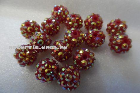 Shamballa strassz gyöngy 10 mm, PIROS