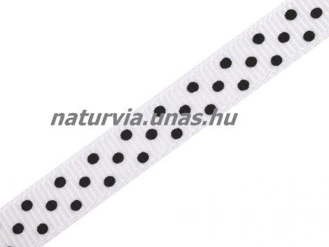Ripsz szalag, PÖTTYÖS / PETTYES (10 mm), fehér alapon apró fekete pöttyök