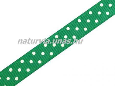 Ripsz szalag, PÖTTYÖS / PETTYES (10 mm), zöld alapon apró fehér pöttyök