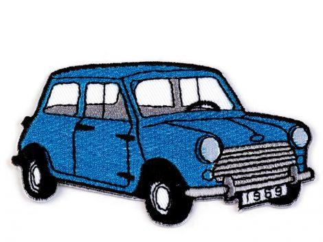 Ruhára vasalható textil matrica, folt - kék autó