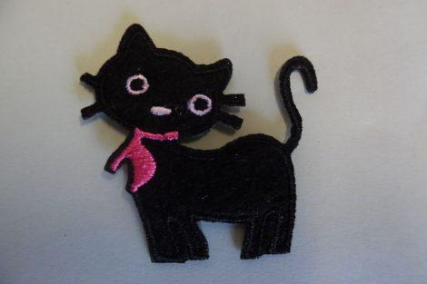 Ruhára vasalható textil matrica, folt - fekete cica