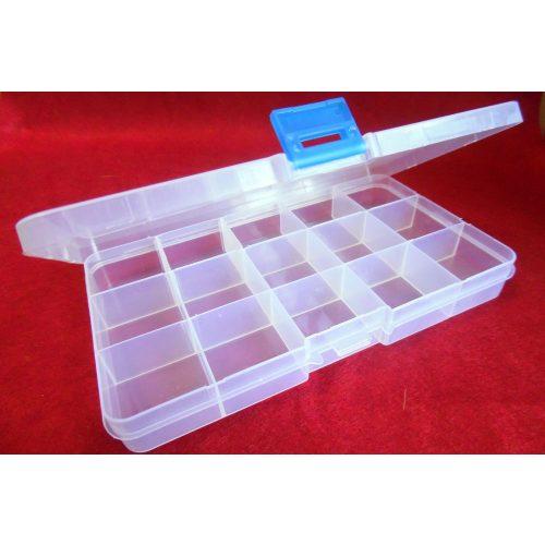 Gyöngytartó, gyöngy tároló műanyag doboz, szögletes (17*11*2,2 cm)