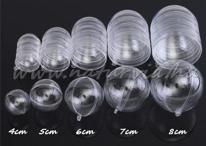műanyag (akril) forma, 2 részes, átlátszó / áttetsző GÖMB / GOLYÓ (6 cm)