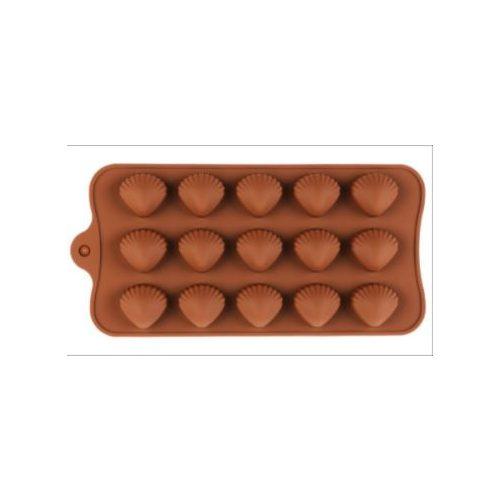 Szilikon bonbon forma - kagyló alakú bonbon készítéséhez (15 db-os)