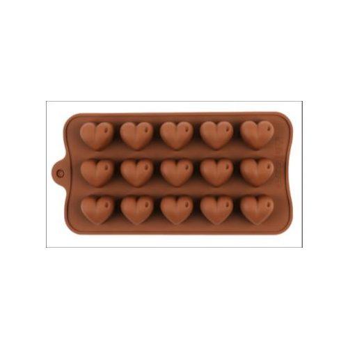 Szilikon bonbon forma - szív alakú bonbon készítéséhez (15 db-os)