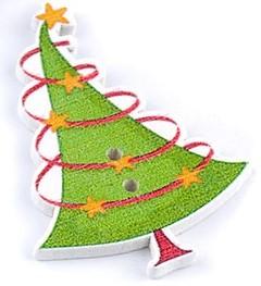 Fenyőfa, karácsonyfa alakú fa gomb 02., SZINES (10 db/csomag)