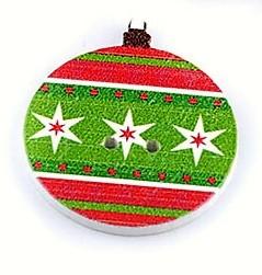 Karácsonyfadísz, színes gömb alakú fa gomb, SZINES (10 db/csomag)