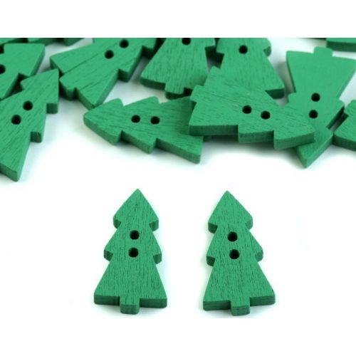 Fenyőfa, karácsonyfa alakú fa gomb, ZÖLD (10 db/csomag), KICSI
