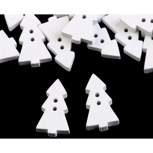 Fenyőfa, karácsonyfa alakú fa gomb, FEHÉR (10 db/csomag), KICSI