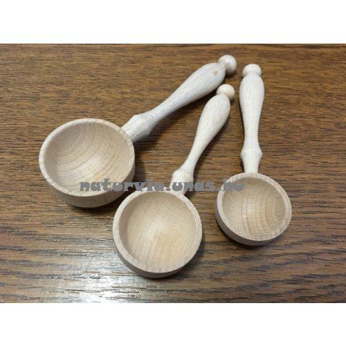 fa gyögynövényes, gyógyteás kanál (kanál fából szálas teához) szett - 3 db különböző méretű