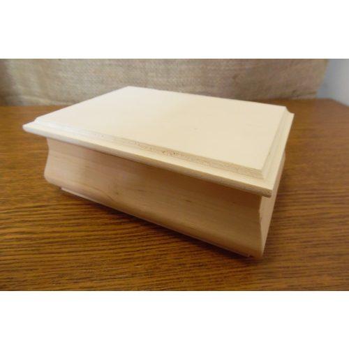 Fa ékszertartó doboz, TÉGLALAP alakú (14*10*5,5 cm), natúr, ÍVES