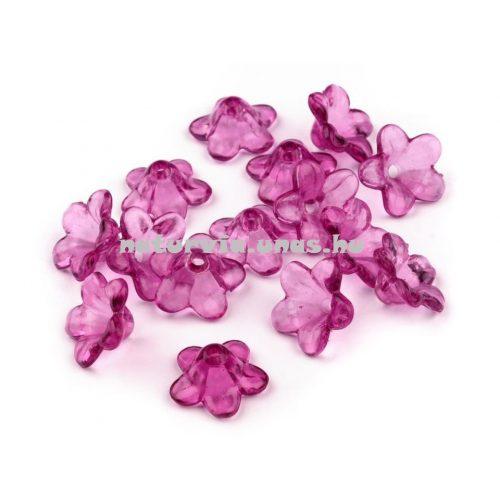 Harang alakú virág, akril harangvirág gyöngy (12 mm), VILÁGOS LILA (10 db/csomag)