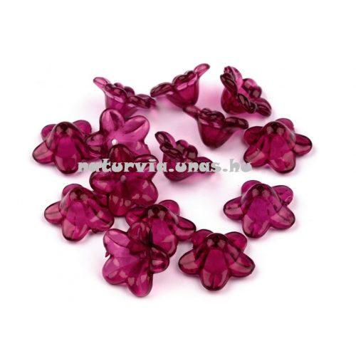 Harang alakú virág, akril harangvirág gyöngy (12 mm), SÖTÉT LILA (10 db/csomag)