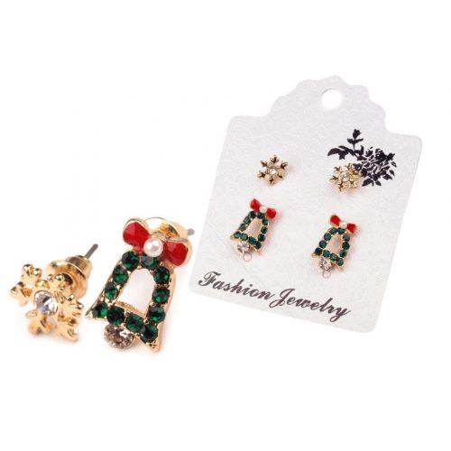 Karácsonyi fülbevaló készlet (2 pár) CSENGŐ (HARANG), HÓPEHELY